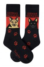 German Shepherd Tan/Black & Black Socks - Red and Black in Color