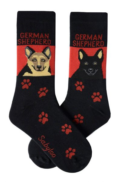 German Shepherd Tan/Black & Black Socks - Red and Black in Color