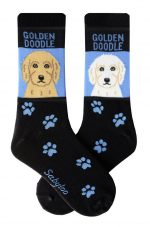 Blonde and White Goldendoodle Socks - Black and Blue in Color