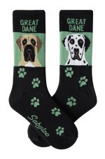 Great Dane Fawn and Harlequin Uncropped Socks - Green and Black in Color