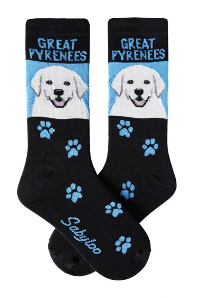 Great Pyrenees Socks Black and Blue in Color