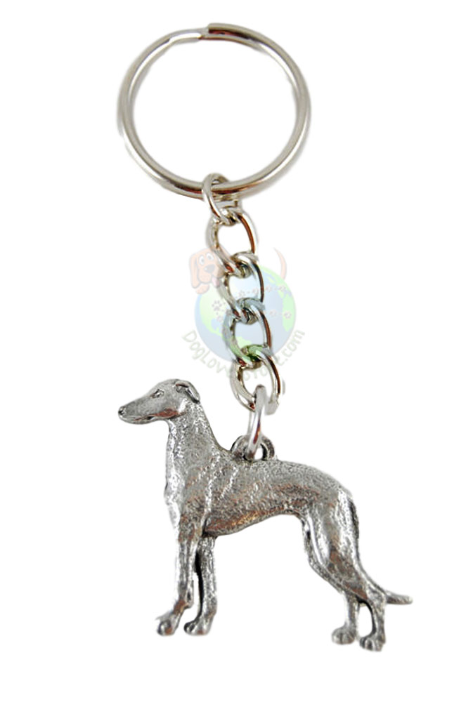 Greyhound Pewter Keychain