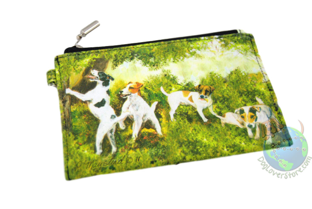 4 Jack Russell Terriers in the Woods Design on Zippered Wallet Coin Bag