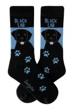 Black Lab Socks Blue and Black in Color