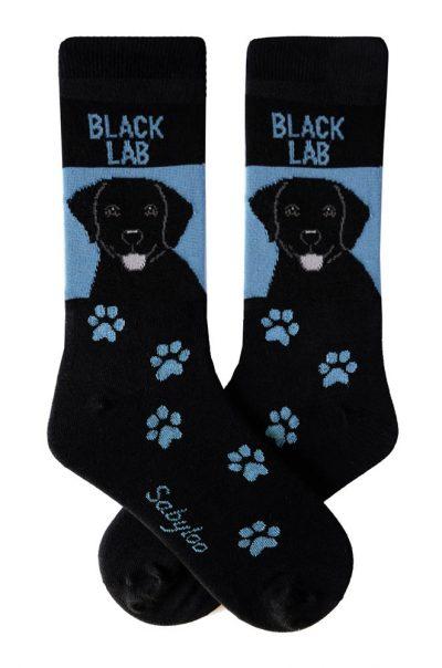 Black Lab Socks Blue and Black in Color
