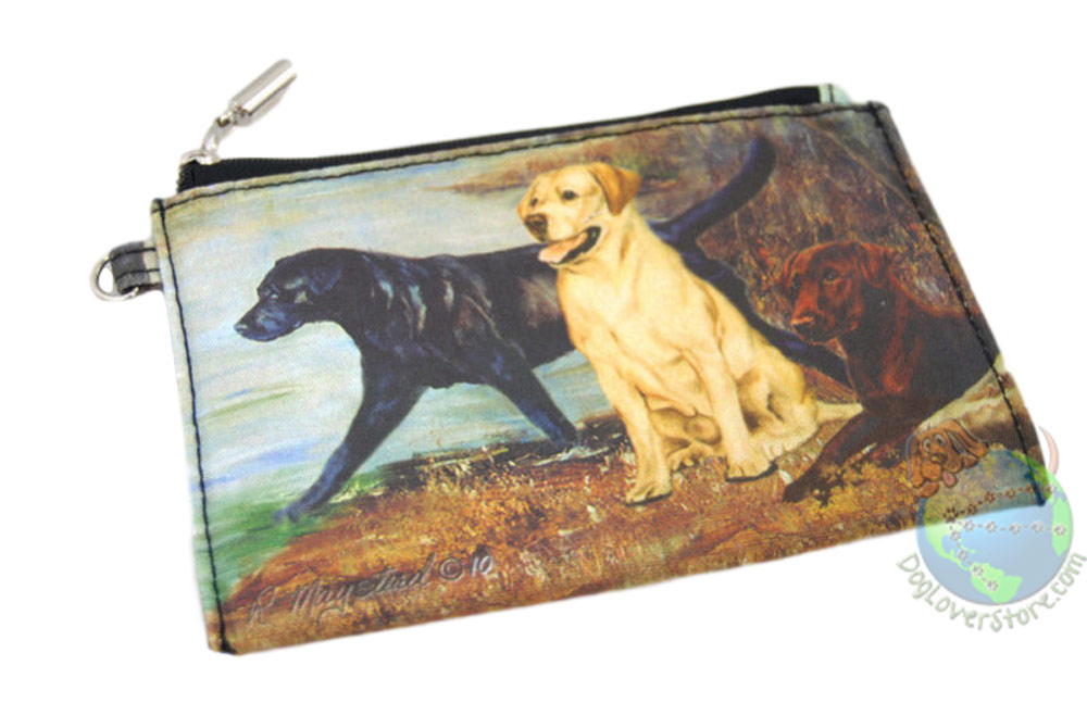Black Lab - Chocolate Lab - Yellow Lab Sitting Near Water Design on Zippered Wallet Clutch Bag