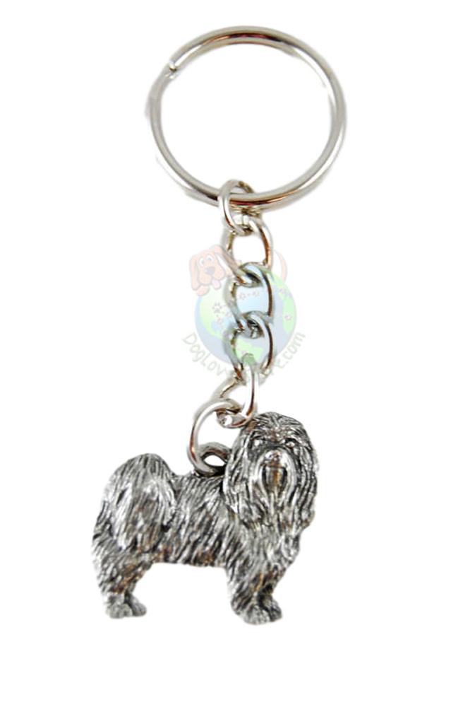 Maltese Puppy Cut Pewter Keychain