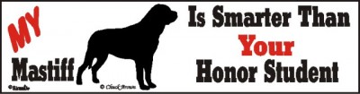 Mastiff Smart Dog Car Bumper Sticker 1