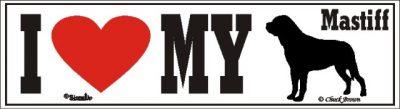 I Love My Mastiff Dog Bumper Sticker