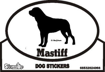 Mastiff Dog Silhouette Bumper Sticker 1