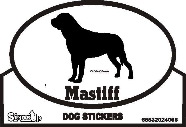 Mastiff Dog Silhouette Bumper Sticker
