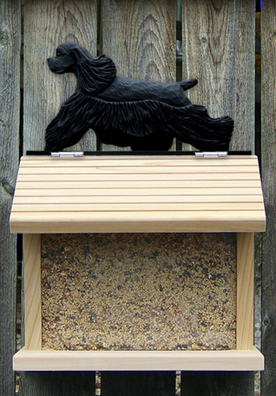 American Cocker Spaniel Hand Painted Dog Bird Feeder Black