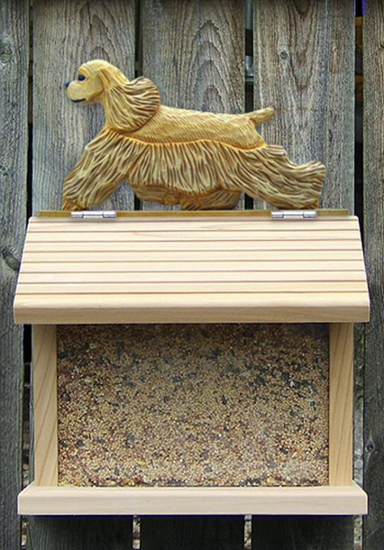 American Cocker Spaniel Hand Painted Dog Bird Feeder Buff