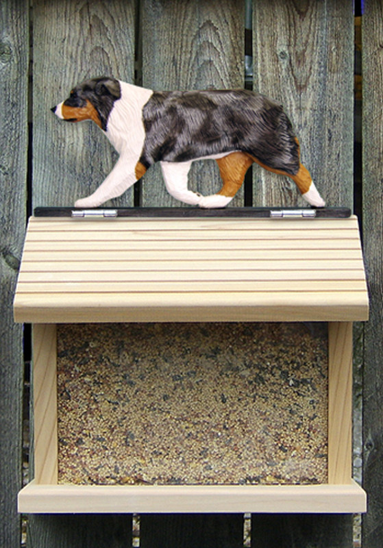Australian Shepherd Hand Painted Dog Bird Feeder Blue Merle