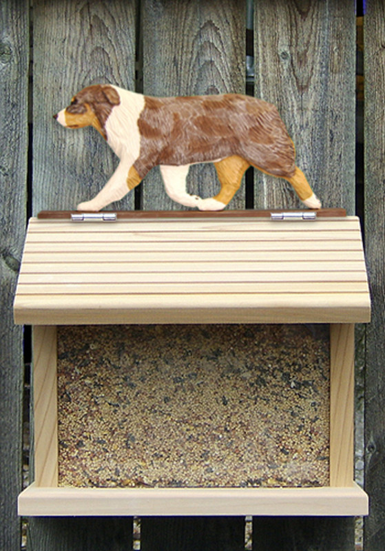 Australian Shepherd Hand Painted Dog Bird Feeder Red Merle