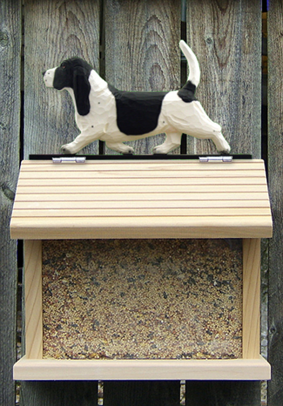 Basset Hound Hand Painted Dog Bird Feeder Black/White
