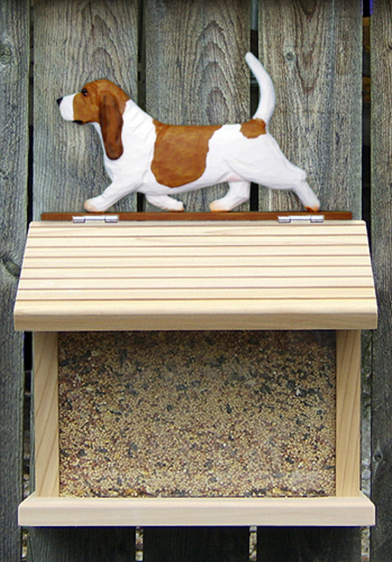 Basset Hound Hand Painted Dog Bird Feeder Red/White