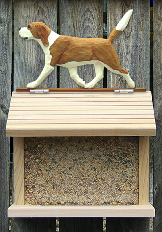 Beagle Hand Painted Dog Bird Feeder Red/White