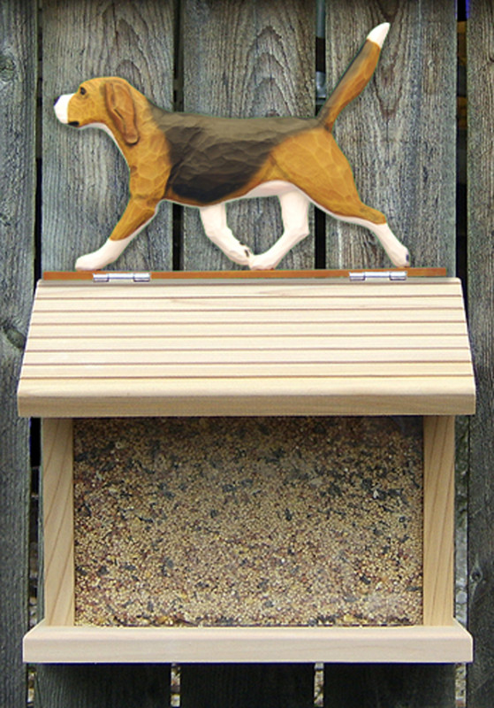 Beagle Hand Painted Dog Bird Feeder Tri