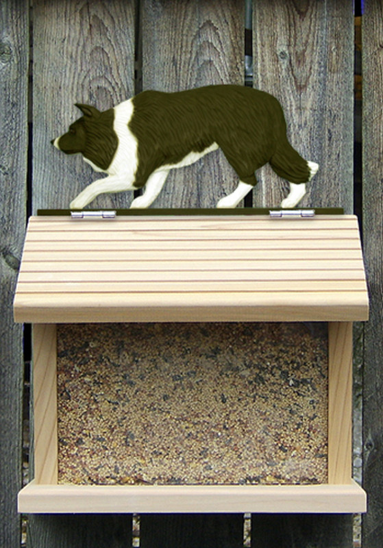 Border Collie Hand Painted Dog Bird Feeder Black