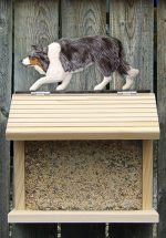 Border Collie Hand Painted Dog Bird Feeder Blue Merle