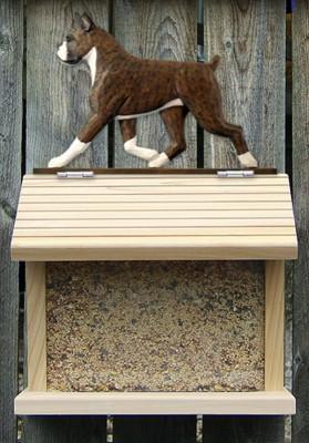 Boxer Hand Painted Dog Bird Feeder Brindle