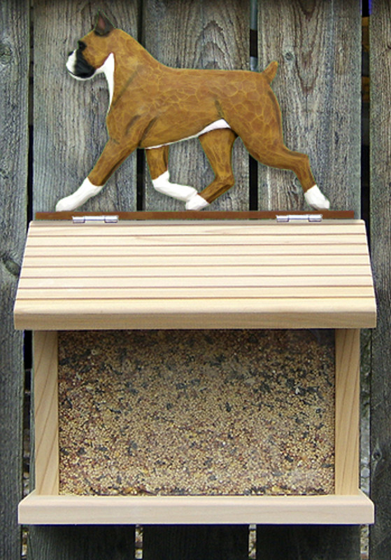 Boxer Hand Painted Dog Bird Feeder Fawn