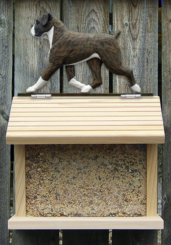 Boxer Uncropped Hand Painted Dog Bird Feeder Brindle