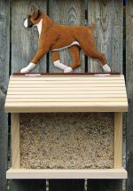 Boxer Uncropped Hand Painted Dog Bird Feeder Fawn