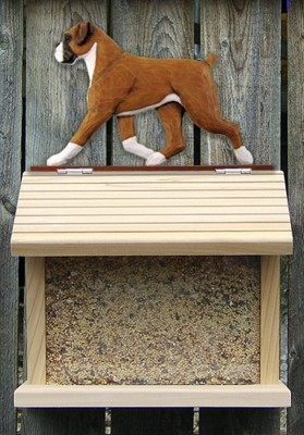 Boxer Uncropped Hand Painted Dog Bird Feeder Fawn 1