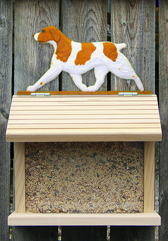 Brittany Dog Orange Bird Feeder