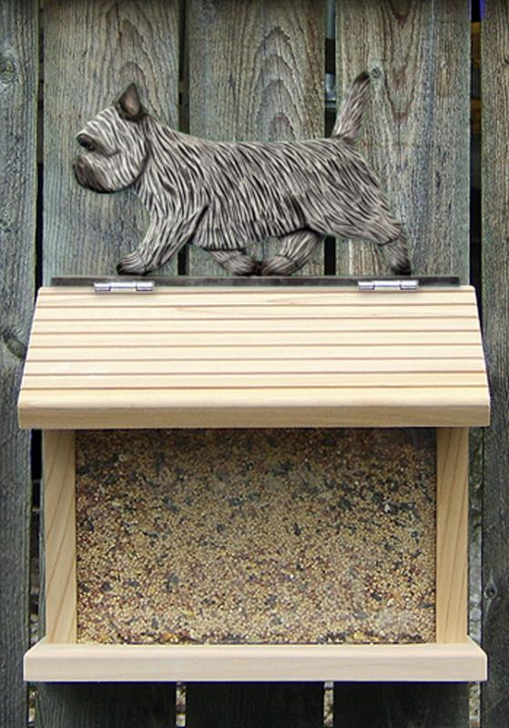 Cairn Terrier Hand Painted Dog Bird Feeder Light Gray