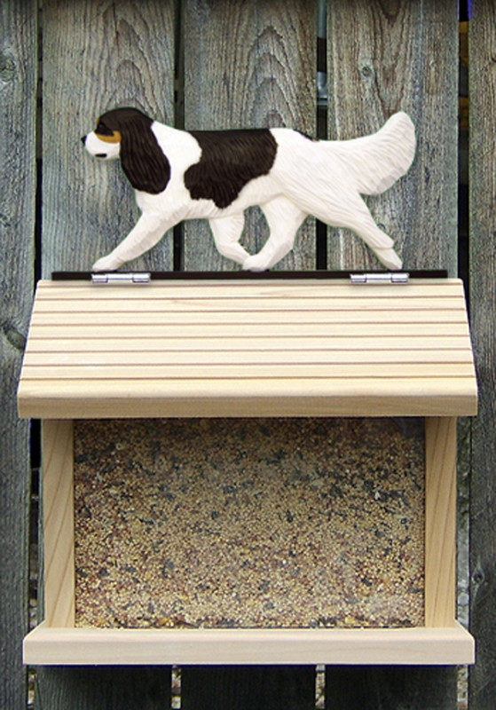Cavalier King Charles Hand Painted Dog Bird Feeder Tri
