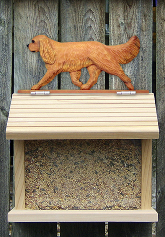 Cavalier King Charles Hand Painted Dog Bird Feeder Ruby