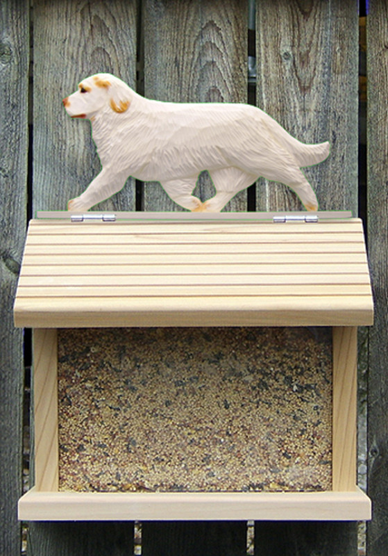 Clumber Spaniel Hand Painted Dog Bird Feeder Orange