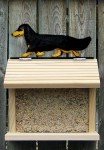 Dachshund Long Hair Hand Painted Dog Bird Feeder Black/Tan