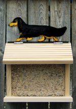 Dachshund Long Hair Hand Painted Dog Bird Feeder Black/Tan