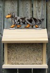 Dachshund Long Hair Hand Painted Dog Bird Feeder Blue Dapple