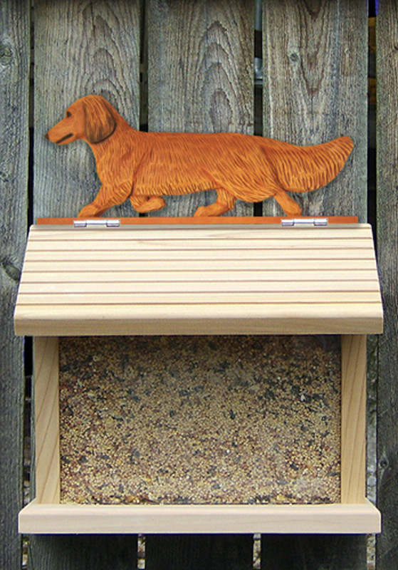 Dachshund Long Hair Hand Painted Dog Bird Feeder Red