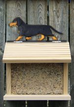 Dachshund Smooth Hair Hand Painted Dog Bird Feeder Black/Tan