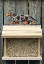 Dachshund Smooth Hair Hand Painted Dog Bird Feeder Blue Dapple