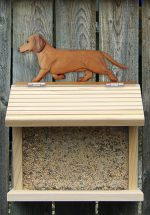 Dachshund Smooth Hair Hand Painted Dog Bird Feeder Red