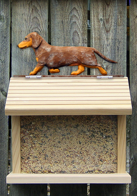 Dachshund Smooth Hair Hand Painted Dog Bird Feeder Red Dapple