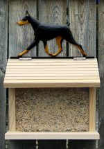 Doberman Pinscher Hand Painted Dog Bird Feeder Black/Tan