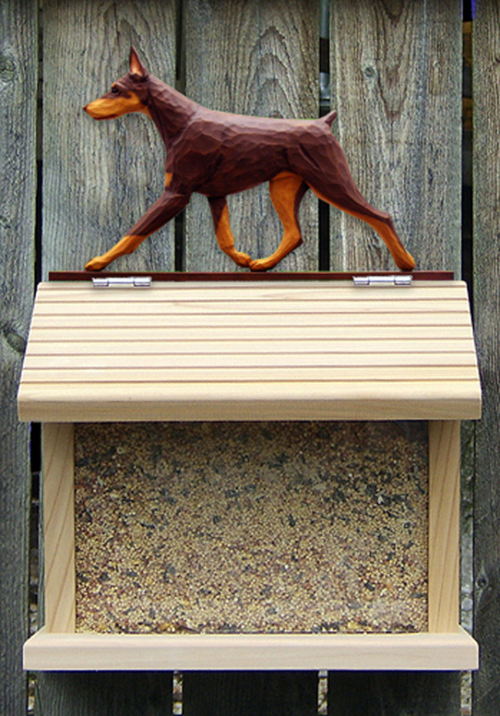 Doberman Pinscher Hand Painted Dog Bird Feeder Red/Tan