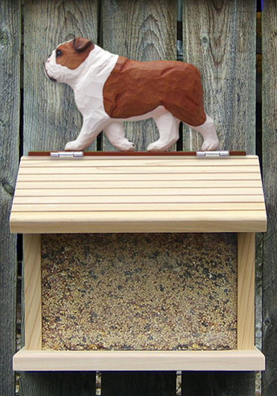 English Bulldog Hand Painted Dog Bird Feeder Red