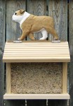 English Bulldog Hand Painted Dog Bird Feeder Tan