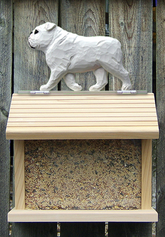 English Bulldog Hand Painted Dog Bird Feeder White