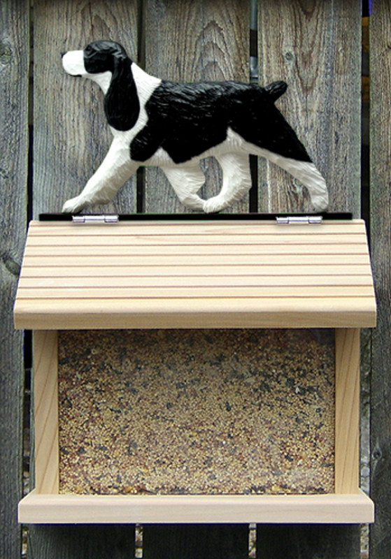 English Springer Spaniel Hand Painted Dog Bird Feeder Black