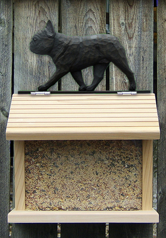 French Bulldog Hand Painted Dog Bird Feeder Black/Brindle